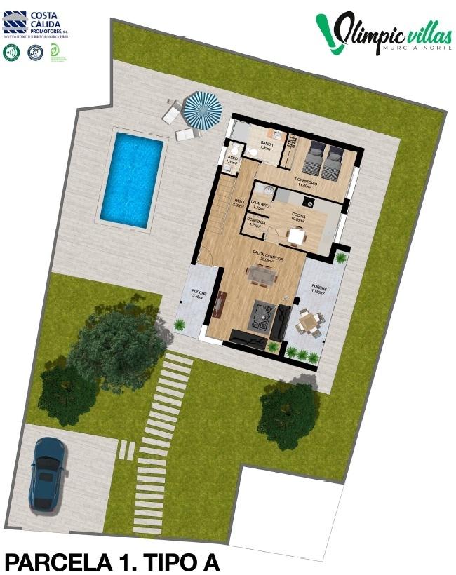 Plano Parcela 1 tipo A - Olimpic Villas Cabezo de Torres - Murcia