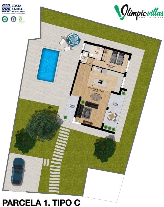 Plano Parcela 1 tipo C - Olimpic Villas Cabezo de Torres - Murcia