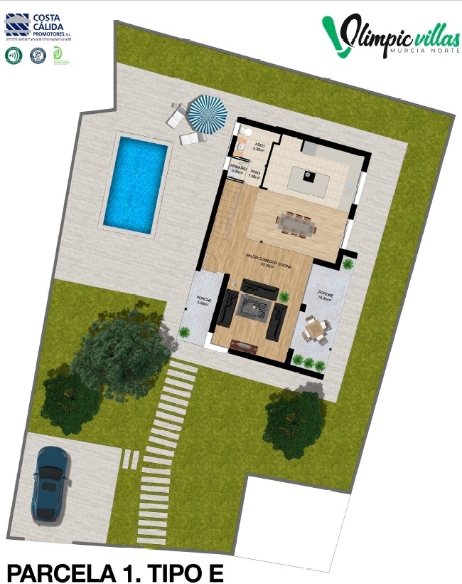 Plano Parcela 1 tipo E - Olimpic Villas Cabezo de Torres - Murcia