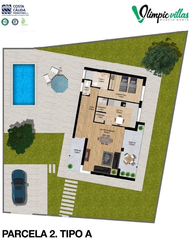 Plano Parcela 2 tipo A - Olimpic Villas Cabezo de Torres - Murcia