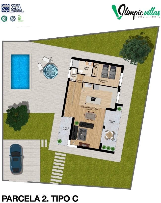 Plano Parcela 2 tipo C - Olimpic Villas Cabezo de Torres - Murcia