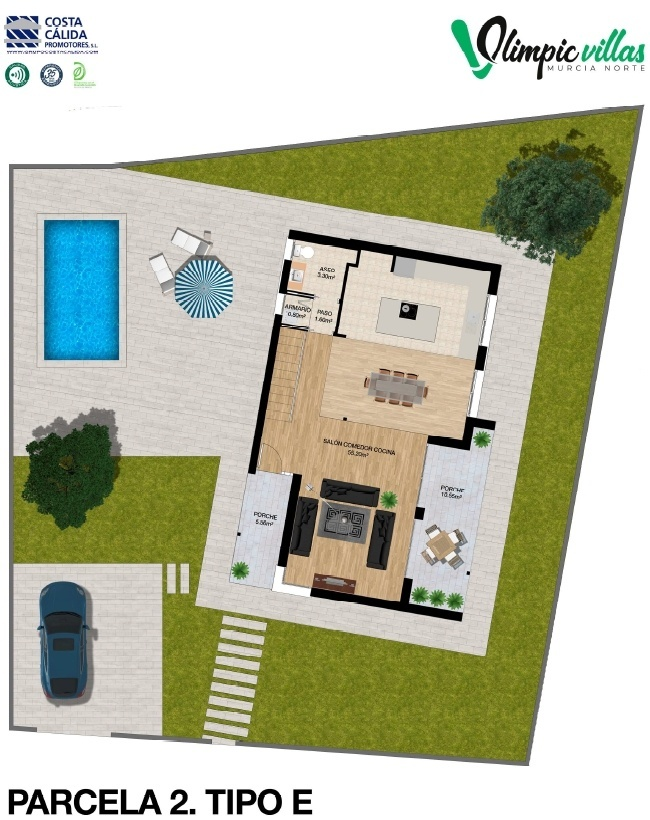 Plano Parcela 2 tipo E - Olimpic Villas Cabezo de Torres - Murcia