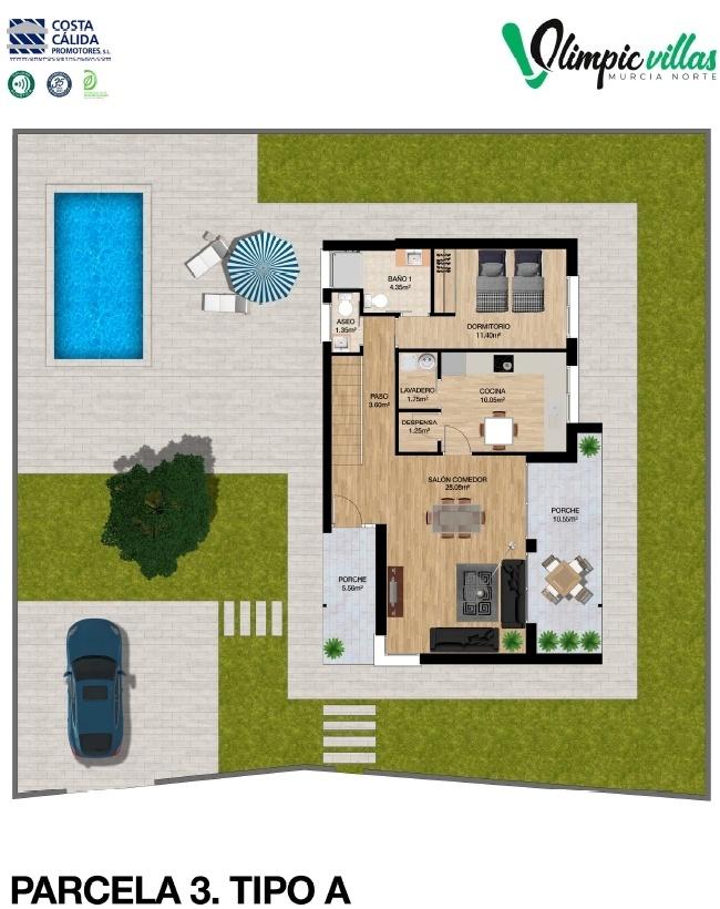 Plano Parcela 3 tipo A - Olimpic Villas Cabezo de Torres - Murcia