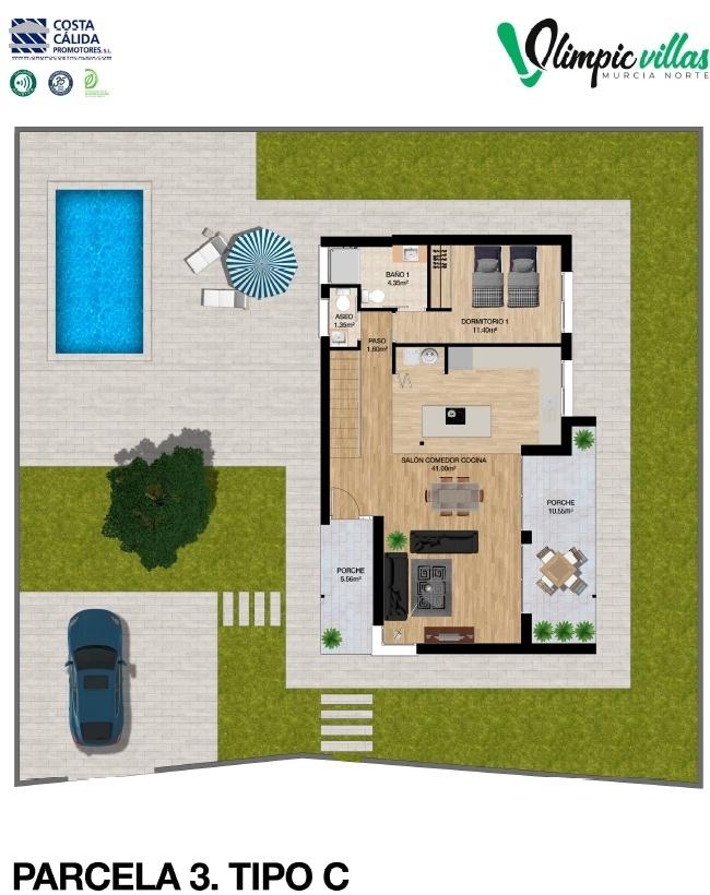Plano Parcela 3 tipo C - Olimpic Villas Cabezo de Torres - Murcia