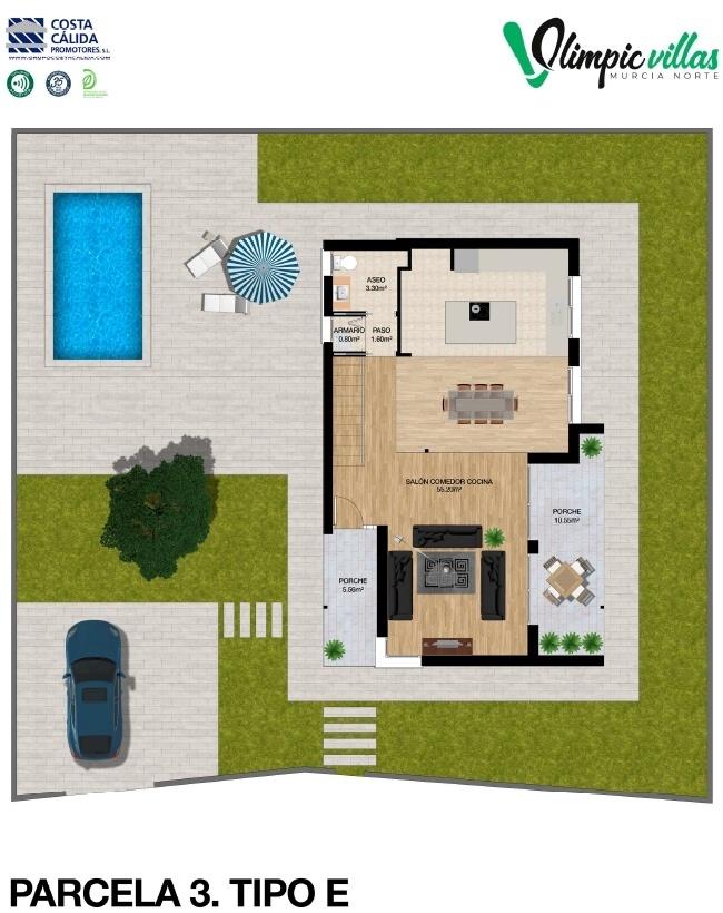 Plano Parcela 3 tipo E - Olimpic Villas Cabezo de Torres - Murcia