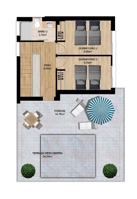 Plano Planta Alta 2 dormitorios Olimpic Villas Cabezo de Torres - Murcia
