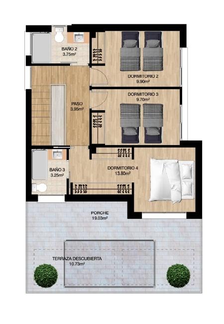 Plano Planta Alta 3 dormitorios Olimpic Villas Cabezo de Torres - Murcia
